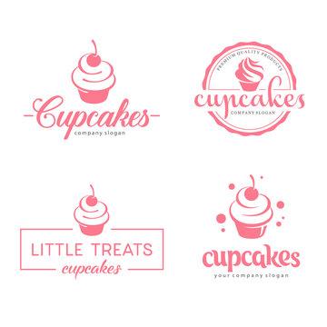 Vector logo design. Cupcakes bakery icon.