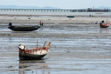 Fishing boats during the period of low tide