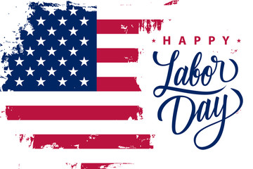 Happy Labor Day holiday banner with brush stroke background in United States national flag colors and hand lettering text design. Vector illustration.