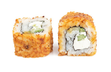 Sushi Rolls with Cream Cheese and cucumber isolated