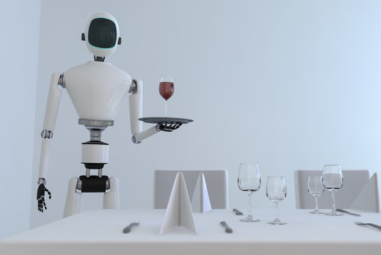 A service robot serving wine in a dining room