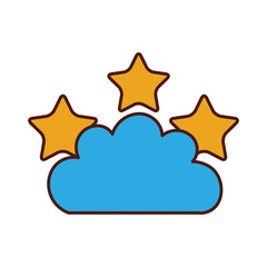 Beautiful fantasy cloud with stars vector illustration design