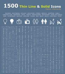 Set of 1500 Thin Line and Solid Icons . Isolated Elements