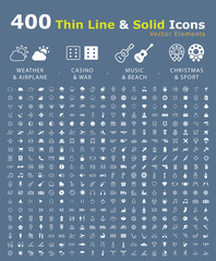 Set of 400 Minimal and Solid Icons ( Weather  Airport  Casino  War  Beach  Music  Christmas and Sport ) . Vector Isolated Elements