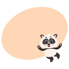 Garden Poster Retro sign Cute and funny smiling baby panda character jumping from happiness, cartoon vector illustration with space for text. Happy little panda bear character, mascot jumping excitedly