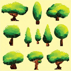 Vector polygon trees and pine Clip Art