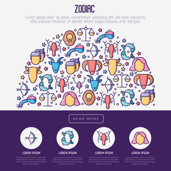 Zodiac signs concept in half circle with thin line icons for banner with horoscope, web site or background. Vector illustration.