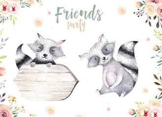 Cute baby raccon nursery animal isolated illustration for children. Bohemian watercolor boho forest drawing, watercolour image. Perfect for nursery posters, patterns. Birthday invitation.