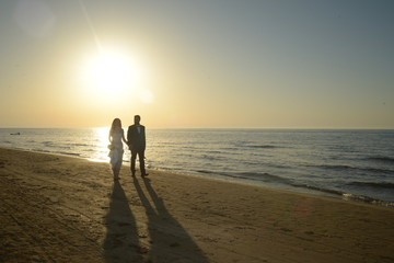 Couple just married on the beach