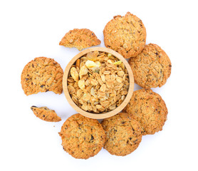 Stores à enrouleur Biscuit Oatmeal and cookies on white background