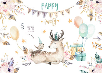 Cute baby deer nursery animal isolated illustration for children. Bohemian watercolor boho forest deer family drawing, watercolour image. Perfect for nursery posters, patterns. Birthday invitation
