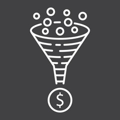 Conversion rate line icon, seo and development, funnel sign vector graphics, a linear pattern on a black background, eps 10.
