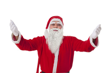 Portrait of Santa Claus with arms raised over white background