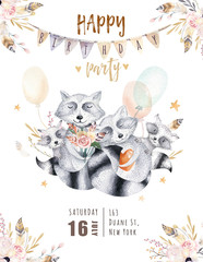 Cute baby raccon nursery animal isolated illustration for children. Bohemian watercolor boho forest raccons family drawing, watercolour image. Perfect for nursery posters, patterns. Birthday