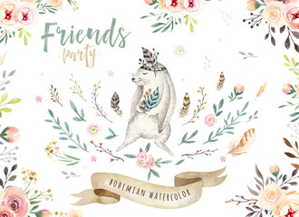 Hand drawn watercolor owl, mouse and bird dancing animals. Boho nursery decoration illustrations, music trendy art. Perfect for fabric design.