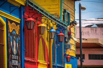 Street iron lanterns are painted in different colors. Shevelev.