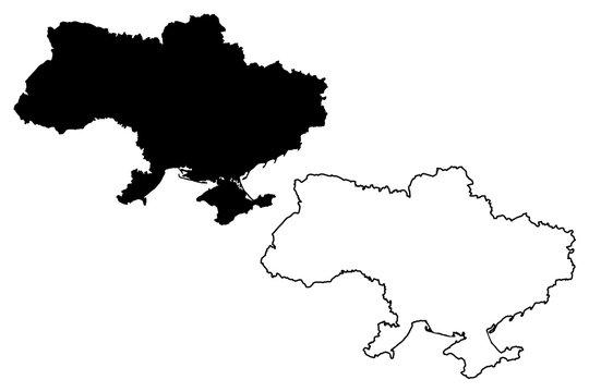 Ukraine map vector illustration, scribble sketch Ukraine
