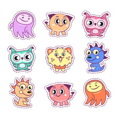 Stickers set pop art comic style with cartoon monster kids