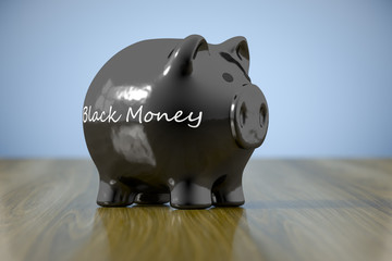 piggy bank with the word black money