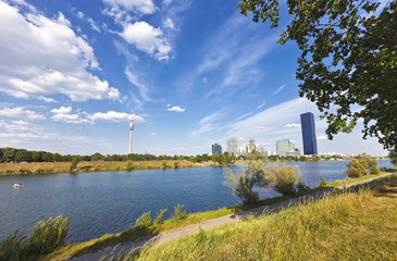 At the Danube Island with the Danube City Vienna, the new DC Tower and the Danube Tower
