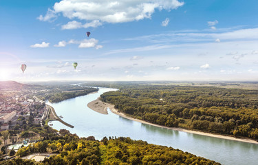 View from the Braunsberg Hainburg an der Donau along the Danube and the Nationalpark Donau-Auen