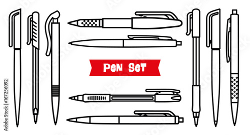 Stationery collection  Writing tools  Pens set  Outline