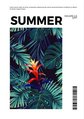 Floral vertical summer postcard design with guzmania flowers, monstera and royal palm leaves. Exotic hawaiian background.