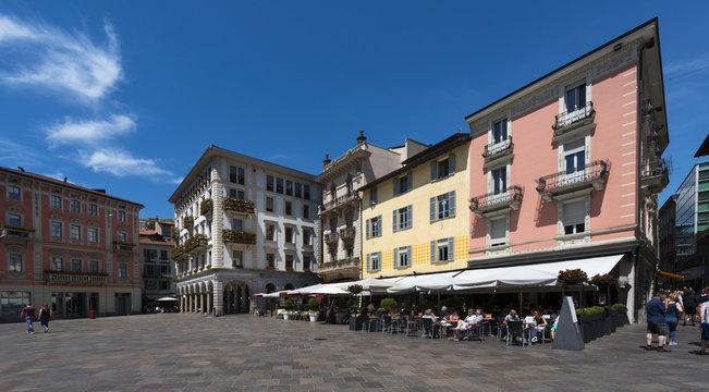 Restaurants and shops at the Piazza della Riforma in Lugano - Lugano, Lake Lugano, Lugano, Ticino, Switzerland, Europe