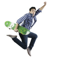 Man jumping with a skateboard