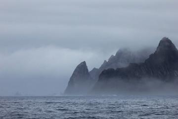 Printed kitchen splashbacks Dark grey Mountains in fog, Antarctic Peninsula landscape, Antarctica