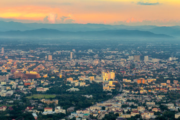 Cityscape of Chiang mai city, Thailand from the view point