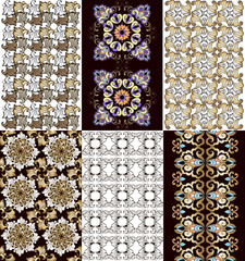 Set of vintage oriental and bohemian patterns. Decorative ornament backdrop for fabric, textile, wrapping paper