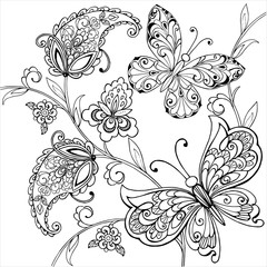 Hand drawn flowers and artistic butterflies for the anti stress coloring page