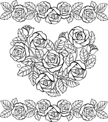 Hand drawn floral heart monochrome. Heart of roses for the anti stress coloring page