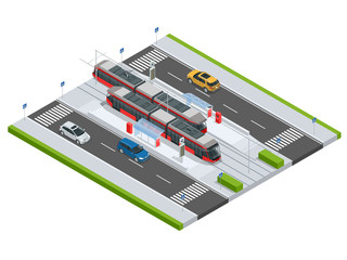Modern Tramway on the stop and cars on the road Metropolitan mass transit system icons featuring tram car, cable car and modern tramway train Ideal for transportation infographics City Transport