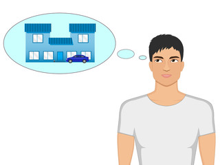 Vector cartoon guy dreaming of a house and a car
