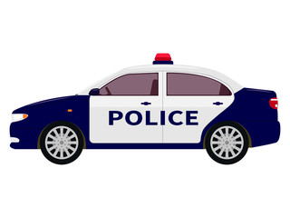 Vector illustration of a cartoon police car