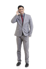 Portrait of businessman talking on a mobile phone