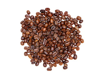 Group of roasted coffee beans pile isolated on white background