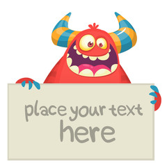 Cute Little Red Monster Cartoon Mascot Character Holding A Blank Sign. Vector Illustration Isolated On White Background