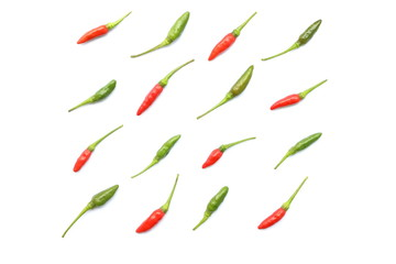 Top view of isolated red and green fresh Thai chili arranged in a neat rows, Flat lay style for background
