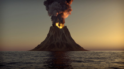 Volcano eruption on an island in the ocean 3d illustration