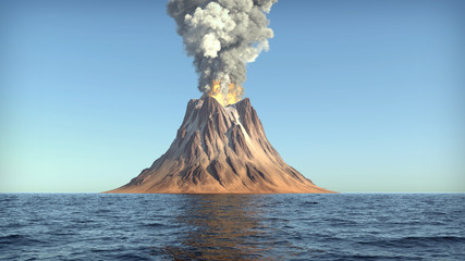 Volcano eruption on an island in the ocean 3d illustration Wall mural