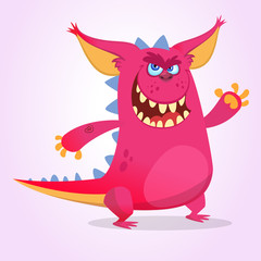 Cute cartoon pink dragon troll. Vector illustration