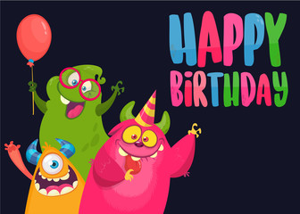Vector birthday card with cute funny monsters in cartoon style. Design for poster or print decoration