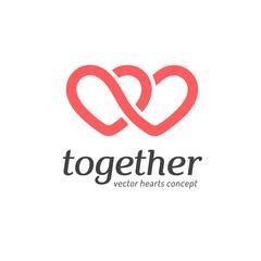 Vector logo concept. Hearts icon
