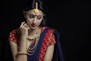 A beautiful bride with jewelery