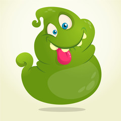 Funny green cartoon ghost. Halloween vector illustration