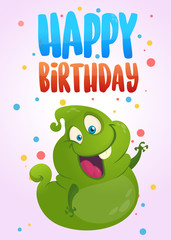 Funny cartoon ghost happy birthday card. Vector illustration. Design poster typography for party