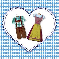 Dirndl und Lederhose auf einem Herz in Blau Weiß zum Oktoberfest.  Grußkarte von München